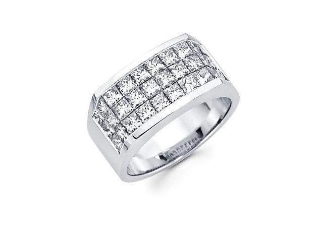 Princess Cut Channel Set 14k White Gold Large Huge Mens Diamond Ring Band 4.20ct (G-H, SI1)