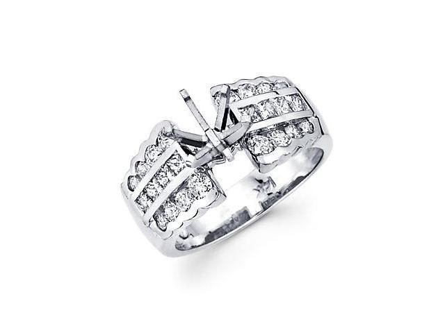 1.22ct Diamond (G-H, SI2) 14k White Gold Channel Set Princess Cut Engagement Semi Mount Ring Setting
