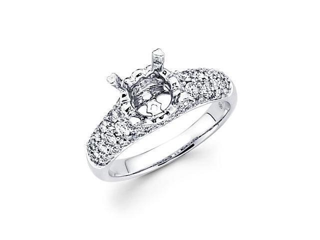 1.04ct Diamond (G-H, SI2) 18k White Gold Engagement Semi Mount Ring Setting -Fits Round 1.5ct Center