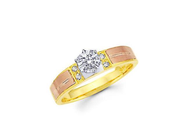 .14ct Diamond 14k Three 3 Tri Color Gold Engagement Ring (G-H Color, SI2 Clarity)