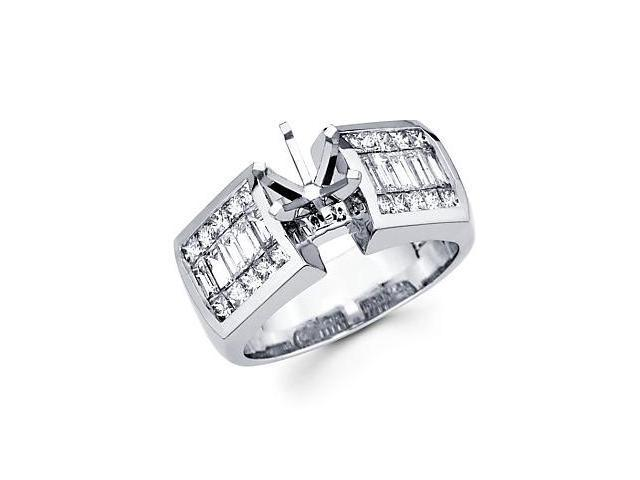 1.4ct Diamond 14k White Gold Channel Set Princess Cut Engagement Semi Mount Ring Setting (G-H, SI1)