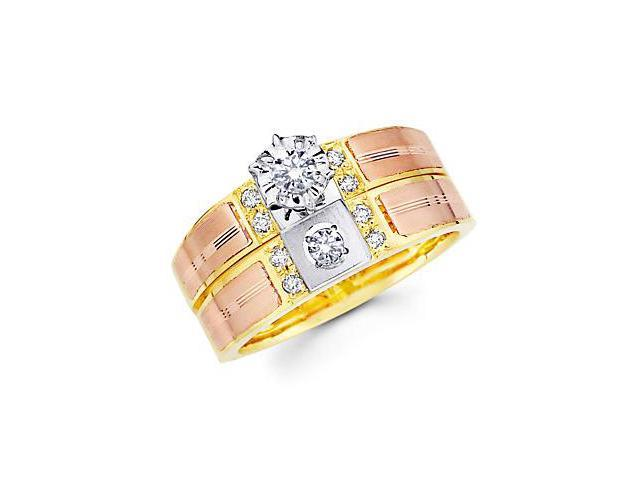 1/4ct Diamond 14k Tri Color Gold Engagement Wedding Ring Set (G-H Color, SI2 Clarity)