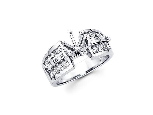 1.65ct Diamond (G-H, SI1) 14k White Gold Channel Set Princess Cut Engagement Semi Mount Ring Setting