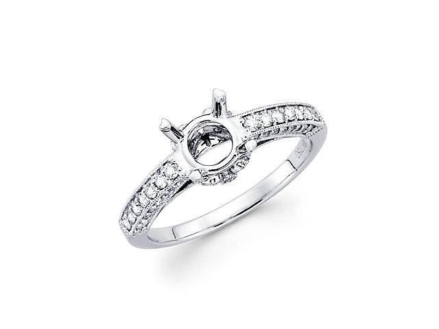 0.40ct Diamond (G-H, SI2) 18k White Gold Engagement Semi Mount Ring Setting - Fits Round 1 Ct Center
