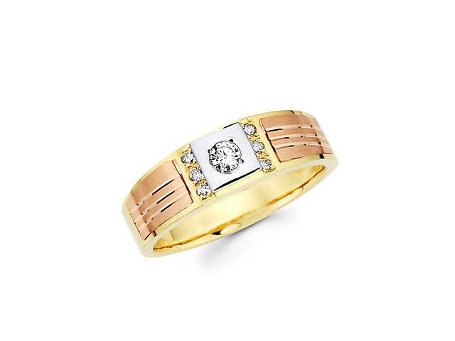 1/5ct Diamond 14k Three 3 Tri Color Gold Mens Wedding Ring Band (G-H Color, SI2 Clarity)