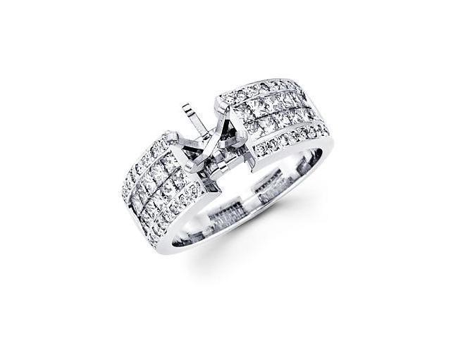 1.21ct Diamond (G-H, SI2) 14k White Gold Channel Set Princess Cut Engagement Semi Mount Ring Setting