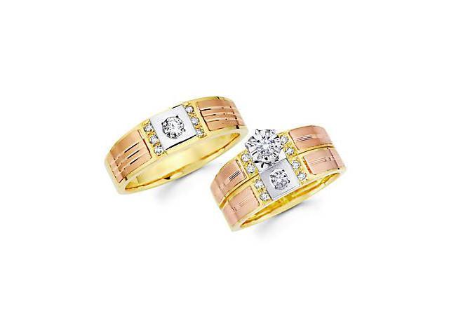.45ct Diamond 14k 3 Color Gold Engagement Wedding Trio His and Hers Ring Set (G-H, SI2)