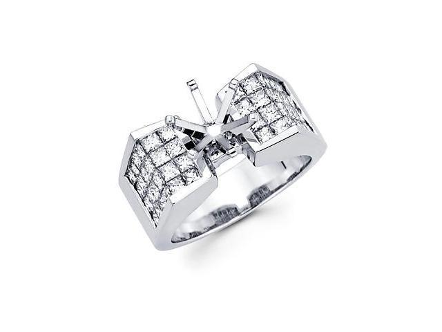 1.49ct Diamond 14k White Gold Channel Set Huge Princess Cut Engagement Semi Mount Ring Setting