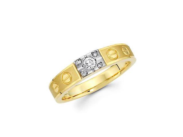 .15ct Diamond 14k Yellow and White Gold Wedding Ring Band (G-H Color, SI2 Clarity)