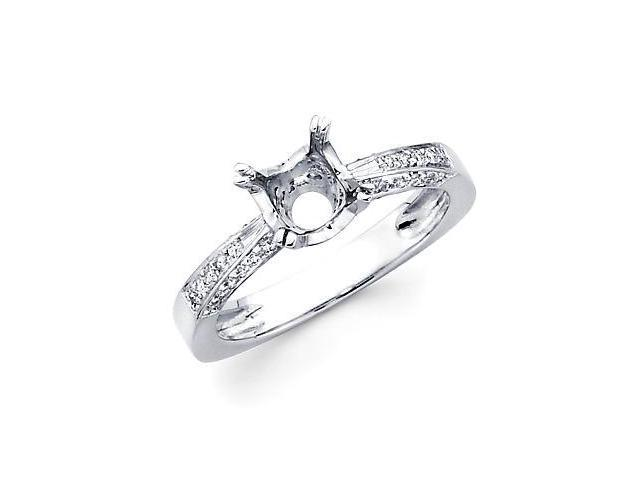 0.37ct Diamond (G-H, SI2) 18k White Gold Engagement Semi Mount Ring Setting - Fits Round 1 Ct Center