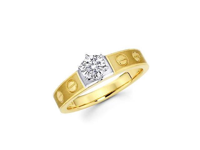 .10ct Diamond 14k Yellow and White Gold Engagement Ring Band (G-H Color, SI2 Clarity)
