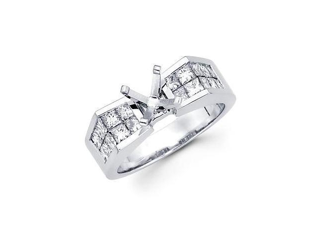 1.22ct Diamond (G-H, SI1) 14k White Gold Channel Set Princess Cut Engagement Semi Mount Ring Setting