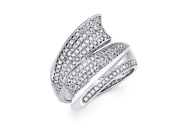 14k White Gold Round Diamond Large Pave Ring Band .64ct (G-H Color, SI2 Clarity)