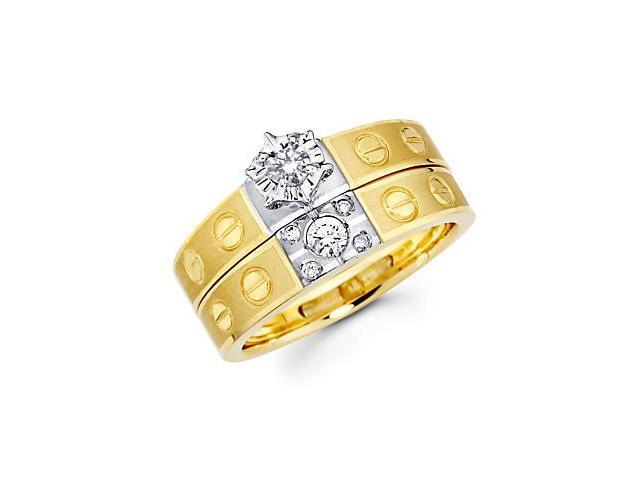 1/4ct Diamond 14k Two Tone Gold Engagement Wedding Ring Set (G-H Color, SI2 Clarity)