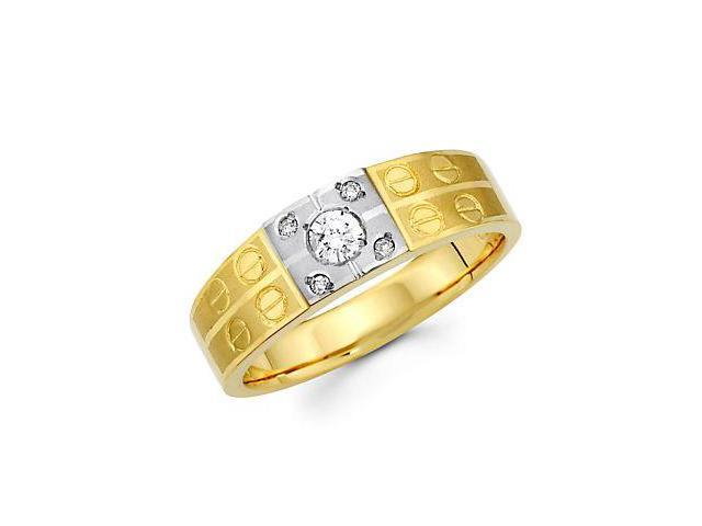 .19ct Diamond 14k Yellow n White Gold Mens Wedding Ring Band (G-H Color, SI2 Clarity)