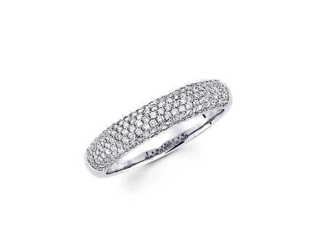 14k White Gold Round Diamond Pave Dome Ring Band .57 ct (G-H Color, SI2 Clarity)