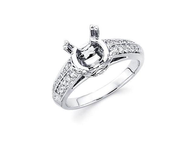 0.29ct Diamond (G-H, SI2) 18k White Gold Engagement Semi Mount Ring Setting - Fits Round 2 Ct Center