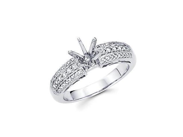 0.30ct Diamond 18k White Gold Engagement Semi Mount Ring Setting (G-H Color, SI2 Clarity)