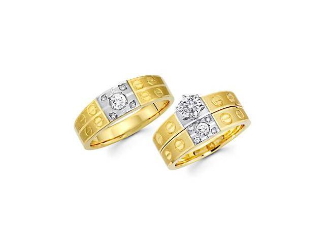 .44ct Diamond 14k Two Tone Gold Engagement Wedding Trio His and Hers Ring Set (G-H, SI2)