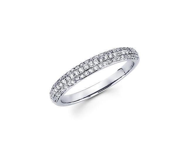 14k White Gold Round Diamond Pave Dome Ring Band .42 ct (G-H Color, SI2 Clarity)