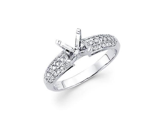1/3ct Diamond 18k White Gold Engagement Semi Mount Ring Setting (G-H Color, SI2 Clarity)