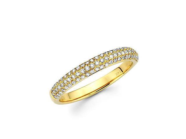 14k Yellow Gold Round Diamond Pave Dome Ring Band .42ct (G-H Color, SI2 Clarity)