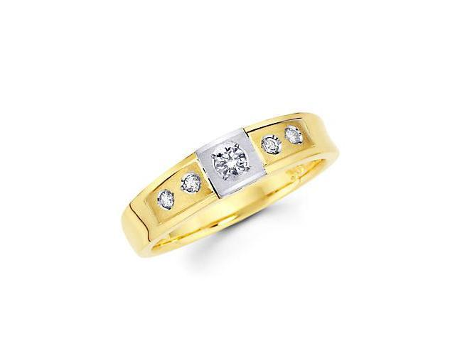 .18ct Diamond 14k Two Tone Gold Wedding Matching Ring Band (G-H Color, SI2 Clarity)