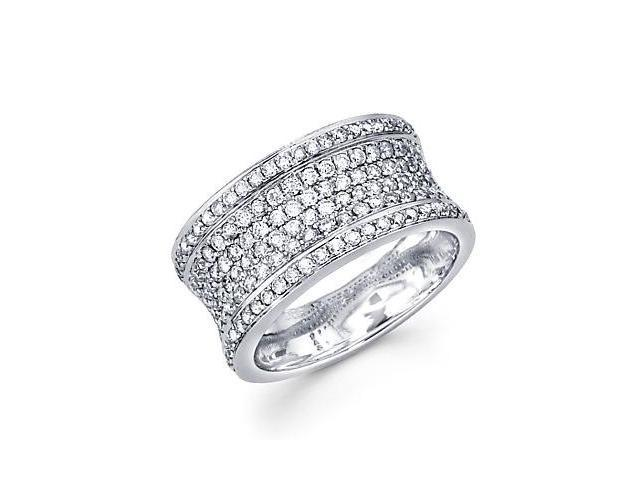 14k White Gold Large Pave Diamond Ring Band 1.01 ct (G-H Color, SI2 Clarity)