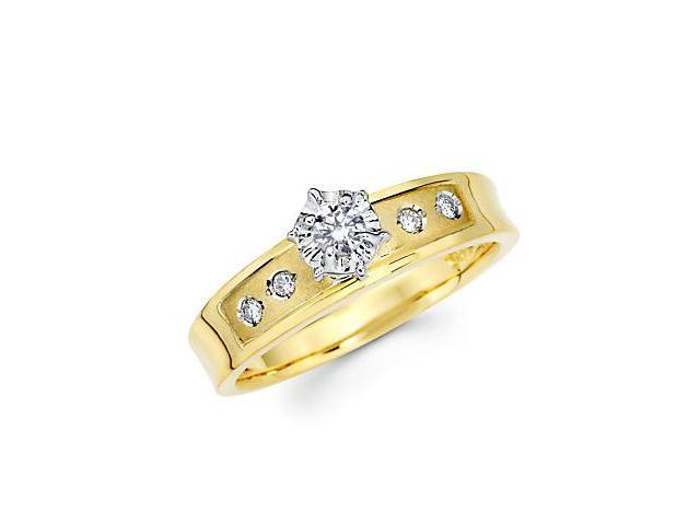 14k Yellow Two Tone Gold Engagement Diamond Ring .18 ct (G-H Color, SI2 Clarity)