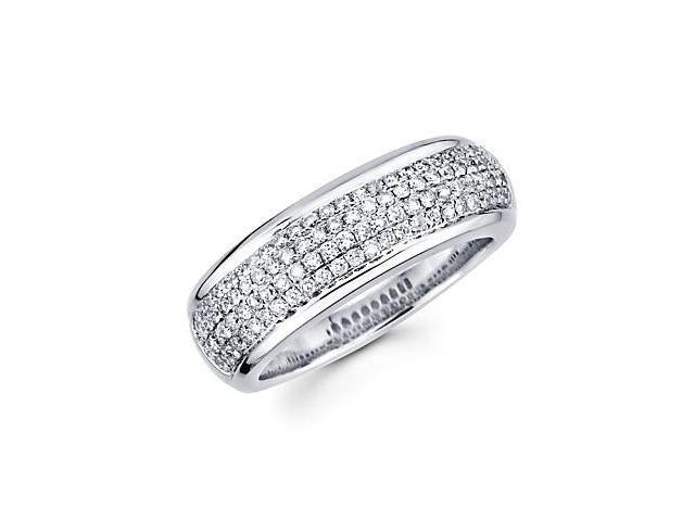 14k White Gold Diamond Pave Wedding Ring Band .71 ct (G-H Color, SI2 Clarity)