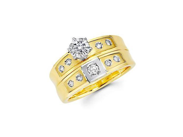 .36ct Diamond 14k Two Tone Gold Engagement Wedding Ring Set (G-H Color, SI2 Clarity)