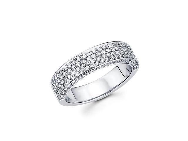 14k White Gold Diamond Pave Wedding Ring Band .87 ct (G-H Color, SI2 Clarity)