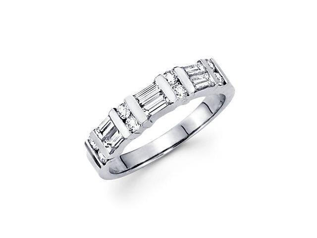 0.75ct Diamond 14k White Gold Wedding Ring Band Matching V (G-H Color, SI2 Clarity)