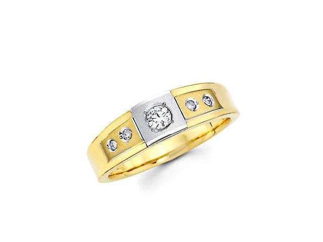 .23ct Diamond 14k Yellow n White Gold Mens Wedding Ring Band (G-H Color, SI2 Clarity)