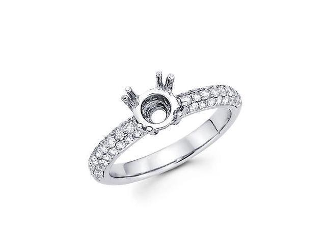0.62ct Diamond (G-H, SI2) 18k White Gold Engagement Semi Mount Ring Setting - Fits Round 1 Ct Center