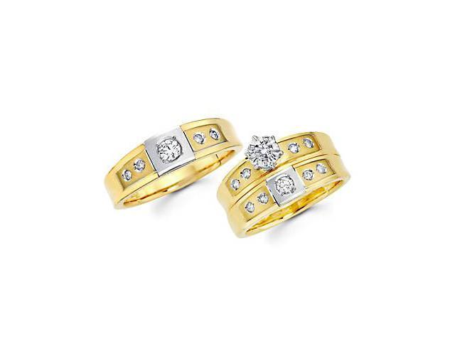 .59ct Diamond 14k Two Tone Gold Engagement Wedding Trio His and Hers Ring Set (G-H, SI2)