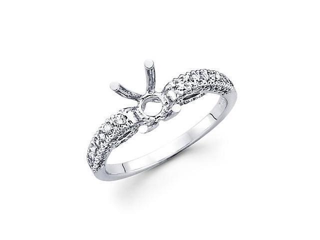 0.56ct Diamond (G-H, SI2) 18k White Gold Engagement Semi Mount Ring Setting - Fits Round 1 Ct Center