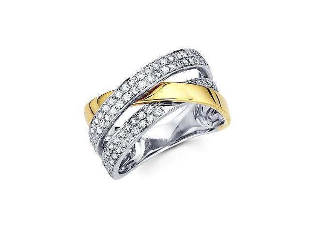 14k Two Tone Gold Diamond Cross Over Ring Band .80 ct (G-H Color, SI2 Clarity)