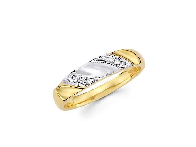 .09ct Diamond 14k Yellow White Gold Wedding Match Ring Band (G-H Color, SI2 Clarity)