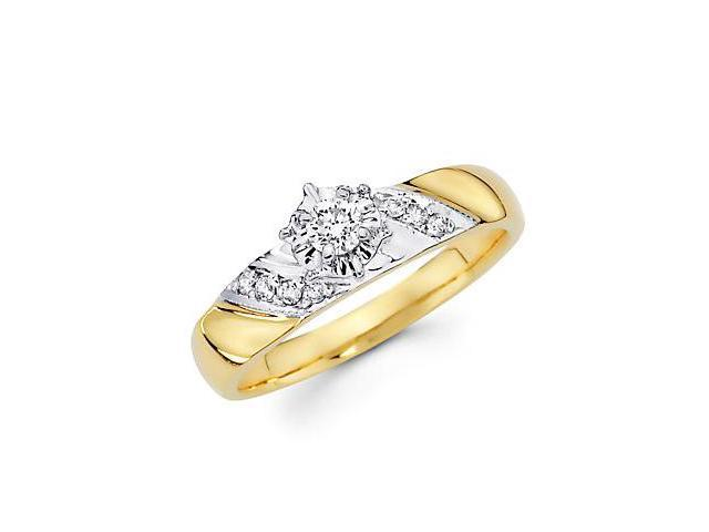 14k Yellow and White Gold Diamond Engagement Ring .19ct (G-H Color, SI2 Clarity)
