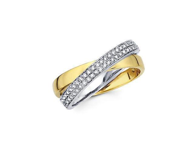 14k Two Tone Gold Diamond Cross Over Ring Band 1/4 ct (G-H Color, SI2 Clarity)