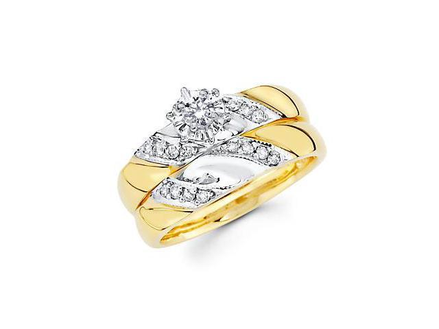 .28ct Diamond 14k Yellow Gold Engagement Wedding 2 Ring Set (G-H Color, SI2 Clarity)