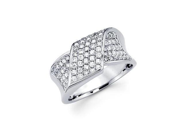 14k White Gold Round Diamond New Pave Ring Band .80 ct (G-H Color, SI2 Clarity)