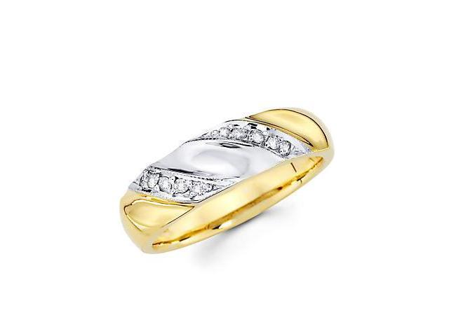 14k Yellow Gold Mens Matching Diamond Wedding Ring Band .15 ct (G-H Color, SI2 Clarity)