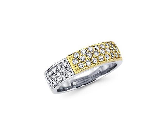14k Yellow and White Gold Pave Diamond Ring Band .66 ct (G-H Color, SI2 Clarity)