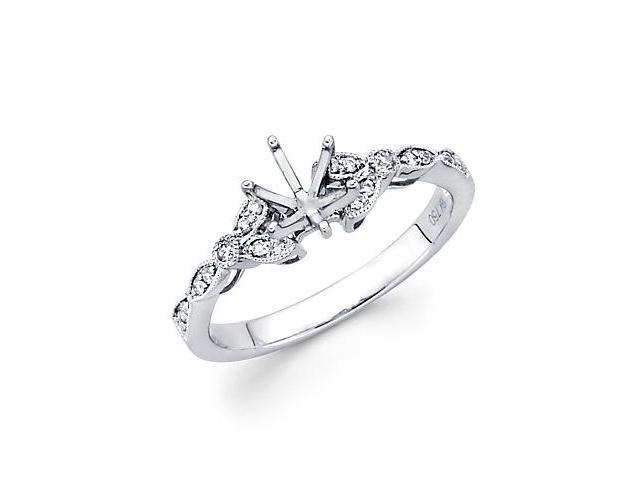 0.12ct Diamond 18k White Gold Engagement Semi Mount Ring Setting (G-H Color, SI2 Clarity)