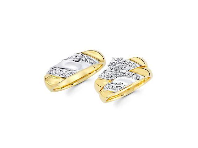 .43ct Diamond 14k Gold Engagement Wedding Trio His and Hers 3 Ring Set (G-H Color, SI2 Clarity)