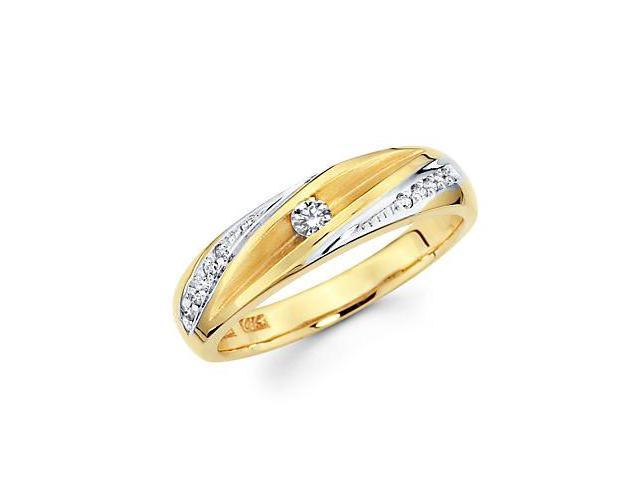 .16ct Diamond 14k Yellow and White Gold Wedding Ring Band (G-H Color, SI2 Clarity)