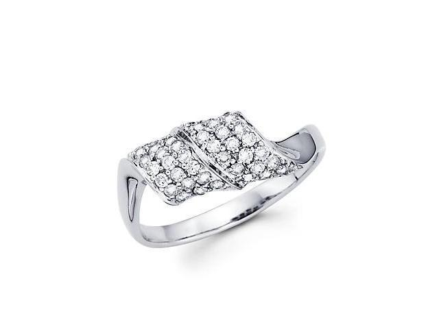 14k White Gold Round Diamond New Pave Ring Band .43 ct (G-H Color, SI2 Clarity)
