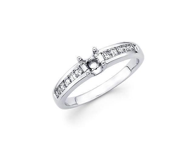 .37ct Diamond (G-H, SI1) 18k White Gold Engagement Semi Mount Ring Setting - Fits Round 1/4ct Center